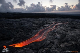 This large breakout stretched roughly 50-60 yards, creating a vivid foreground for a Kalapana sunrise, as it snaked over recently cooled lava above Jack Thompson's pali.