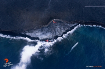 The Kamokuna delta continues to grow, as molten lava pours into the sea.