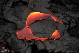 A piece of hardened crust is being consumed by molten lava.