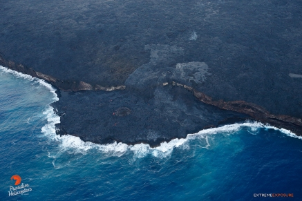 No visible lava was seen entering the sea, although several hot spots were visible, along with a couple tumuli.