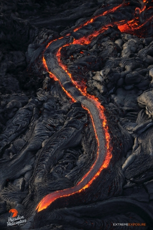 Another stream of lava flows down a steep section of Pulama Pali.