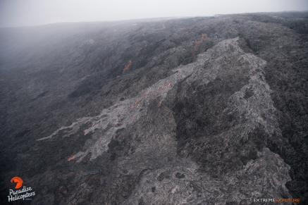 The activity at Pulama Pali was incredible, with rivers of lava flowing down the steep hillside and onto the coastal plain. Again, the lighter areas are the most recent breakouts.