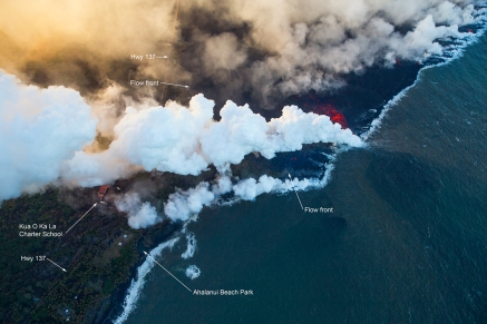 Lava was approximately 150 yards from Ahalanui Beach Park, also known as the Warm Ponds, and the Kua O Ka La Charter School.